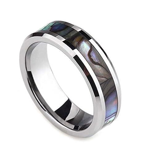 Mens Womens Titanium Ring Abalone Shell Inlay Wedding Bands Comfort Fit Beveled Edge (Abalone Inlay Band Ring)