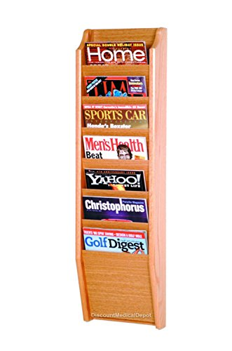 - DMD Wall Mount Magazine Rack, 7 Pocket Display, Light Oak Wood Finish
