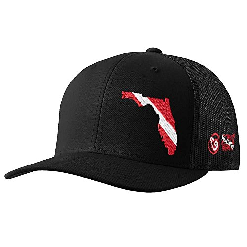 Hat Diver (Born of Water Florida Scuba Diver Down Flag Trucker Hat Black)
