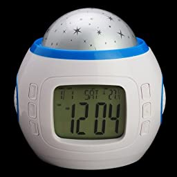UI-1038 Music/Colorful Starry Sky Stars Projector Calendar Alarm Clock-White