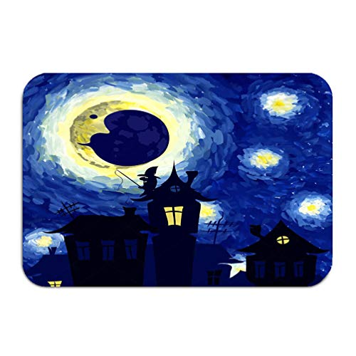 qilifz Outside Shoe Non-Slip Color Dot Doormat Starry Night Style Van Gogh Halloween Background Charming Mats Entrance Rugs Carpet 16 24 inch ()