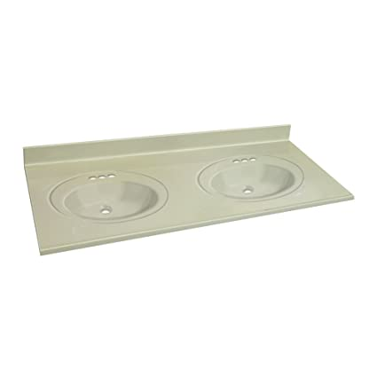 Transolid 1409 7982 61 In X 22 In Cultured Marble Bathroom Double Bowl  Vanity Top In White On Bone     Amazon.com