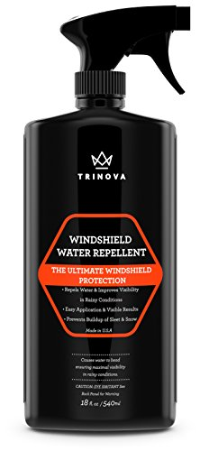 TriNova Windshield Rain Repellent - Glass Treatment Causes Water to Bead, Increased Visibility While Driving Car, Truck, Boat, SUV, RV. 18oz