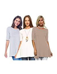 Isaac Liev Women's 3/4 Sleeve Tunic Top - Pack of 3 Swing Flowy Long Shirts