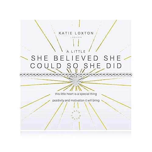 Silver Bracelet Plated Beaded Stretch (Katie Loxton A Little She Believed She Could Silver Women's Stretch Charm Bangle Bracelet)
