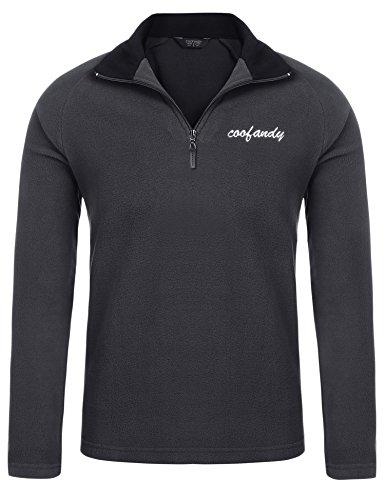 (クーファンディ) Coofandy ポロシャツ メンズ 長袖 無地 秋冬 カジュアル スポーツ ゴルフウェア 通勤 通学 普段着 厚手 裏起毛 保温 あったか ラグランスリーブ ジップアップ デザイン ふわふわ 肌触りよい