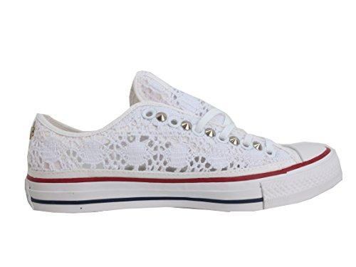 Optical Pizzo Prodotto Artigianale Balzi Star all Bianco Calzature White Borchie Converse Basse Borchiate 77PzngY