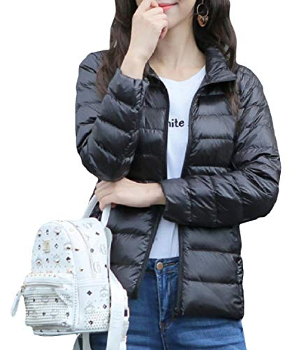 Zip Light Collar Plus Weight Jackets Solid Size Mini MogogoWomen Down Short Black Stand AE8xI