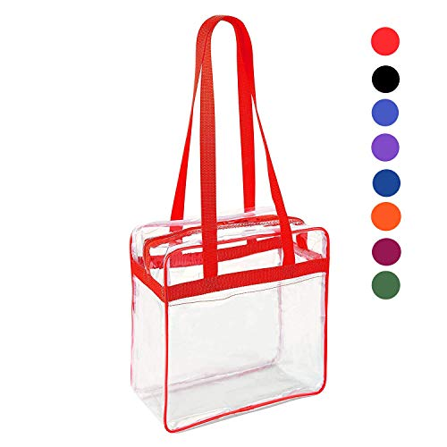 (Clear 12 x 12 x 6 Stadium Tote Bag with Side Pocket and 35
