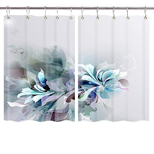 Fantasy Flowers Kitchen Curtains, Retro Butterfly and Floral Wallpaper on Gray Backdrop Nature Plant Window Curtain, Kitchen Deocr Drapes Valance Panels Waterproof 55X39 in with 10PCS Hooks ()