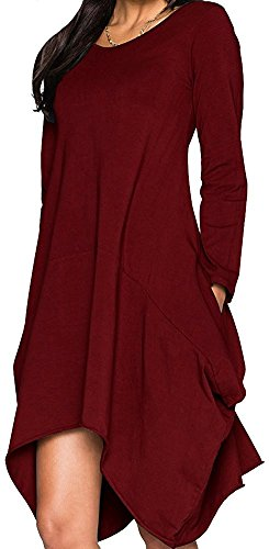 women-asymmetrical-loose-long-sleeve-pockets-tunic-shirt-dress-wine-red-m