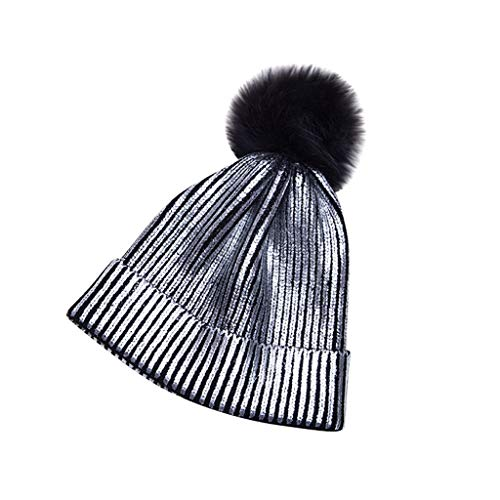 Fashion Glitter Knit Hat with Pom Pom,Crytech Trendy Unisex Glittering Slouchy Baggy Wool Knitted Cable Cuffed Beanie Cap Winter Warm Stylish Knitting Skull Snow Ski Hat for Women Men (C)