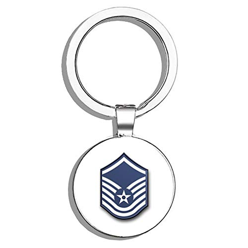 HJ Media US Air Force Master Sergeant (No Diamond) Military Veteran USA Pride Served Metal Round Metal Key Chain Keychain Key Ring