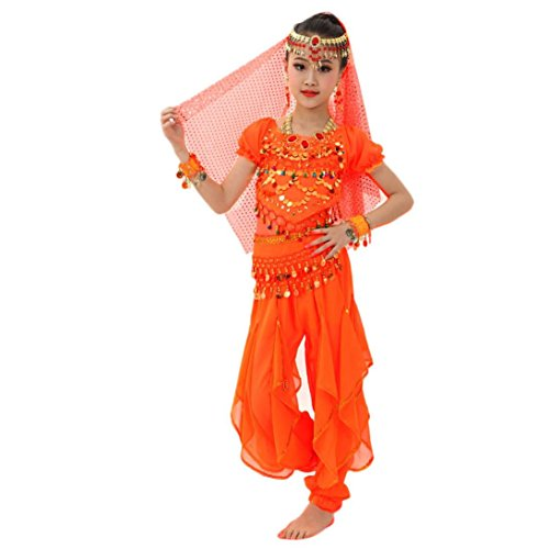 Costume Contemporary Dance (Elevin(TM)Children Girl Short Sleeve Belly Dance Costumes Indian Dancewear Highlights Top Pants Outfit (L, Orange))