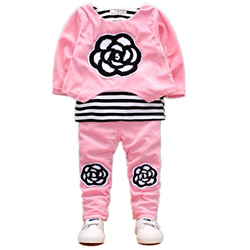 FTSUCQ Girls Pullover Floral Tracksuits Fleeced Sweatershirt Coat + Pants,Pink - Of All Serial Colours Name