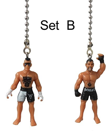 Set of 2 - WRESTLER wrestling champion man champ fighter Ceiling FAN PULL light chain ornament decor (Set B)