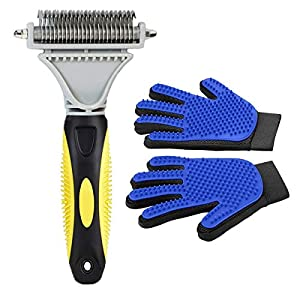 Pet Grooming Tool- Dematting Comb/Grooming Glove Set, 2 Sided Undercoat Grooming Rake for Cats/Dogs, Safely and Easily Removes Matted Tangles, Deshedding Brush Glove- Efficient Pet Hair Remove-2Pack 77