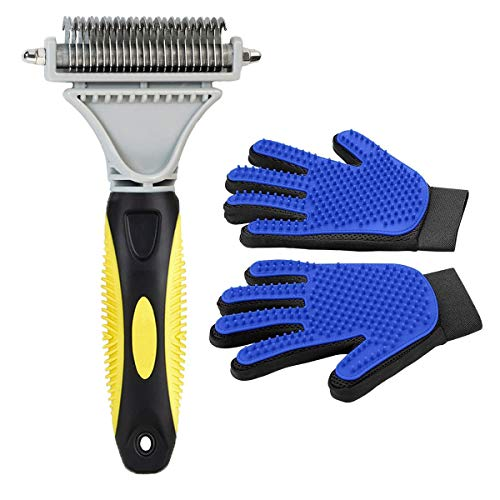 Pet Grooming Tool- Dematting Comb/Grooming Glove Set, 2 Sided Undercoat Grooming Rake for Cats/Dogs, Safely and Easily Removes Matted Tangles, Deshedding Brush Glove- Efficient Pet Hair Remove-2Pack (Best Dog Grooming Brush)