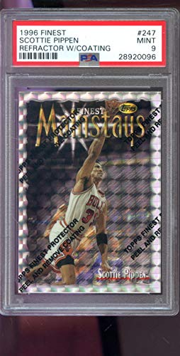 (1996-97 Topps Finest #247 Scottie Pippen Mainstays REFRACTOR NBA PSA 9 Graded Basketball Card)