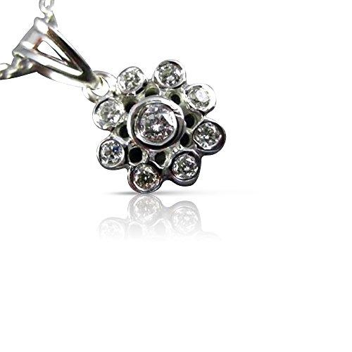 Milano Jewelers .20CT DIAMOND 14KT WHITE GOLD 3D FLOWER BEZEL FLOATING PENDANT #25926