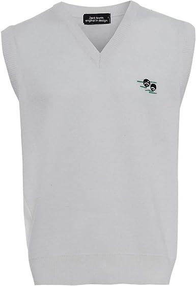 JACK NORTH Jersey de cuello en V para hombre, suéter de punto blanco, sin mangas, camiseta deportiva con logotipo de bolos, ajuste regular