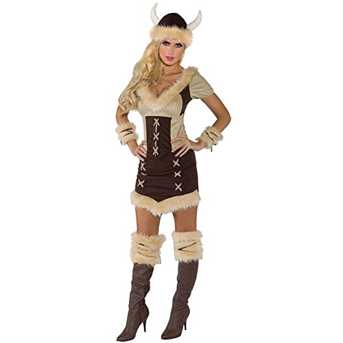 [Underwraps Costumes Women's Viking Queen Costume, Brown/Tan, X-Large] (Woman Thor Costume)