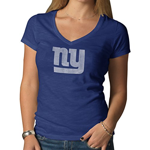 '47 NFL New York Giants Women's V-Neck Scrum Tee, Bleacher Blue, X-Large