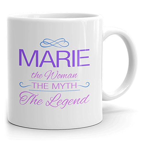 Marie Coffee Mugs - The Woman The Myth The Legend - Best Gifts for Women - 11oz White Mug - Purple