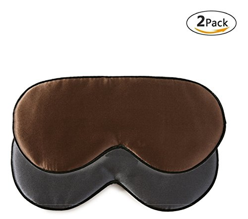 2 pcs 100% silk sleep mask with adjustable strap,comfortable and super soft eye mask including 1 pc darkgrey and 1 pc brown