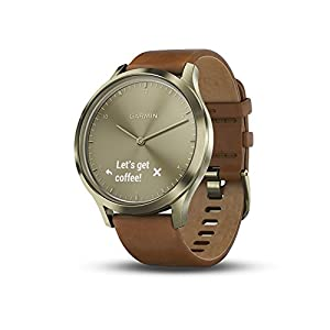 Garmin vivomove HR, Hybrid Smartwatch for Men and Women, Gold with Leather Band