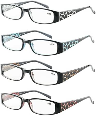 Reading Glasses 4 Pack Great Value Quality Readers Fashion Crystal design Womens glasses for reading