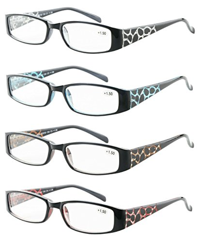 Reading Glasses 4 Pack Great Value Quality Readers Fashion Crystal design Womens glasses for reading 2.5