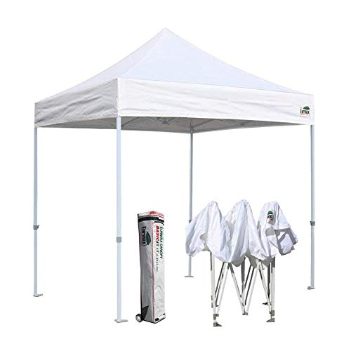 Eurmax 8×8 Feet Ez Pop up Canopy, Instant Party Tent, Commercial Gazebo Bonus Roller Bag White