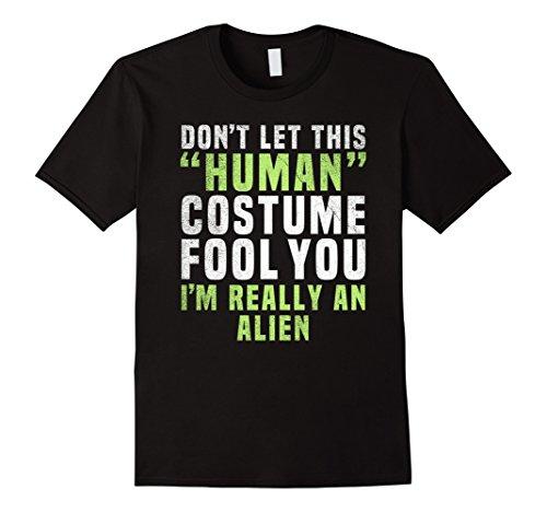 Mens Alien Funny Halloween Shirt Costume Easy for Women Men Kids XL Black