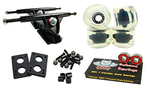 Longboard 180mm Trucks Combo w/70mm Wheels + Owlsome ABEC 7 Bearings (Gel Clear)