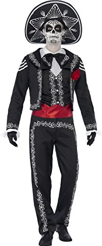 Mariachi Costume Man (Smiffy's Men's Day of the Dead Señor Bones Costume, Jacket, pants, Mock Shirt and Hat, Day of the Dead, Halloween, Size L, 43738)