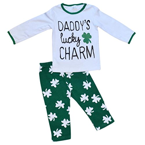 Unique Baby Girls St Patrick's Day Dads Lucky Charm Legging Set (2T/XS, Green)