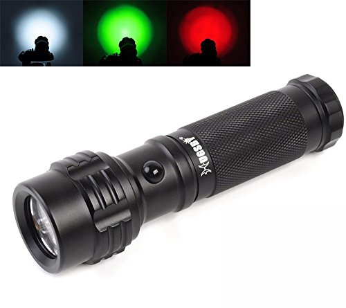 LAFEINA Portable Handheld Flashlight, Outdoor Pocket White Green Red Tri-Color Light 11-LED 3-mode Flashlights Road Signal Torch