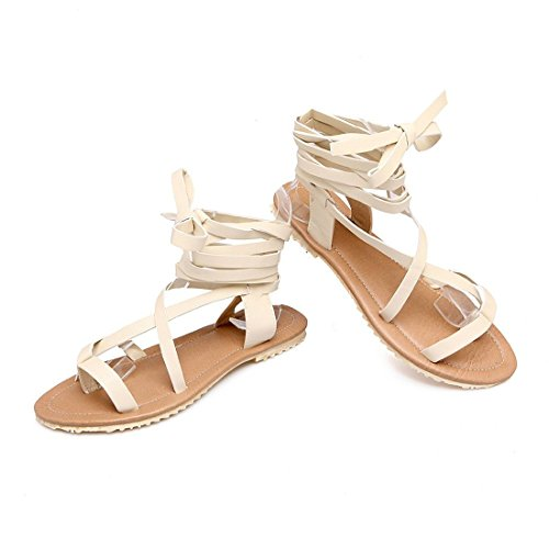Primavera Gran de Planos Sandalias Zapatos Verano Tamaño de de Tiras Mujer AIKAKA Beige Zapatos qS7wHZtYgU