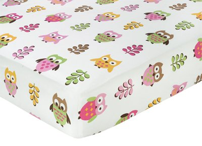 Pink Happy Owl Fitted Crib Sheet for Baby/Toddler Bedding by Sweet Jojo Designs – Owl Print, Baby & Kids Zone