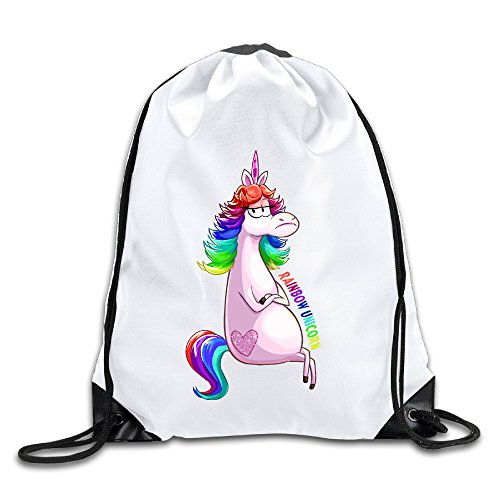 Hunson - Novetly Rainbow Unicorn Sport Bag Drawstring Sling Backpack For Men & Women Sackpack (San Jose Costume)