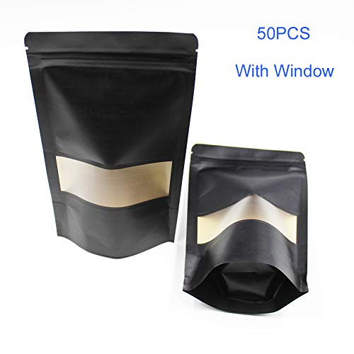 Stand-Up Food Grade pouches, Design Storage Ziplock Bags Black Kraft Food or Gift Bag With Window Zipper and Notch 50PCS