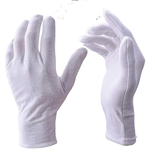 White Gloves, Zealor 12 Pairs Soft Cotton Gloves, Coin Jewelry Silver Inspection Gloves, Stretchable Lining Glove, Large Size by Zealor