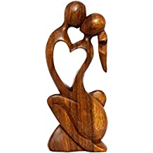 "G6 COLLECTION 12"" Wooden Handmade Abstract Sculpture Statue Handcrafted ""Endless Love"" Gift Art Home Decor"