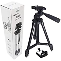 alDivo-3120 Portable and Foldable Camera-Tripod with Mobile Clip Holder Bracket,4 Section Adjustable Travel Tripod (Black)