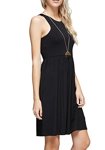 5ab6c8dcf1e0 LAINAB Women Summer Plain Sleeveless Short Tunic Flowy Beach Tank Dress  Black XL