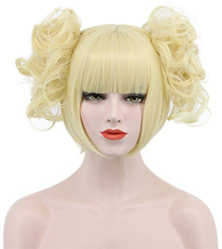 Karlery Women Girl Short Blonde Curly Bangs Wig Pony Tail Halloween Cosplay Wig Anime Costume Party Wig