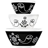 Pyrex Vintage Charm Birds of a Feather 3 Piece Mixing Bowl Set, inspired by Pyrex
