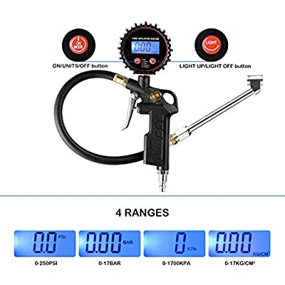 CZC AUTO Digital Tire Inflator Pressure Gauge, LED Display Tyre Deflator Gage with Dual Head Chuck Rubber Hose MNPT Fitting, Compatible with Air Pump Compressor for Truck Bus RV Car Motorcycle Bike: Automotive