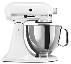 KitchenAid Artisan Series Refurbished 5 Qt. Tilt Head Stand Mixer model has a 325-watt motor, stainless steel bowl with comfort handle and a tilt-head mixer design that provides easy access to bowl and beaters. Burnished or coated beater incl...
